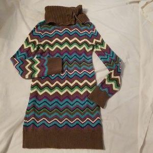 GAP GIRLS CHEVRON ARGYLE SWEATER DRESS 8